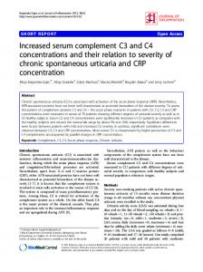 Increased serum complement C3 and C4 ... - BioMedSearch