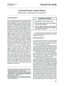 Increased Serum Creatine Kinase Clinical Case ... - Clinical Chemistry