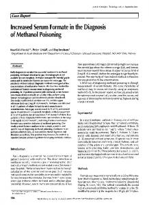 Increased Serum Formate in the Diagnosis of Methanol Poisoning
