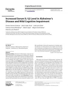 Increased Serum IL-1 Level in Alzheimers Disease ...