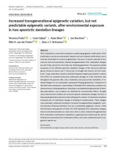 Increased transgenerational epigenetic ... - Wiley Online Library