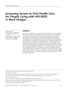 Increasing Access to Oral Health Care for People ... - SAGE Journals