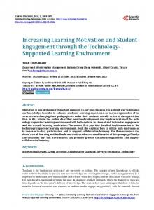 Increasing Learning Motivation and Student Engagement through the