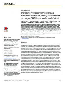 Increasing Nucleosome Occupancy Is Correlated with an ... - PLOS