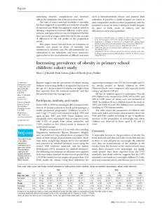 Increasing prevalence of obesity in primary school