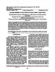 Increasing Reliability of a Power System in ... - Maxwell Science