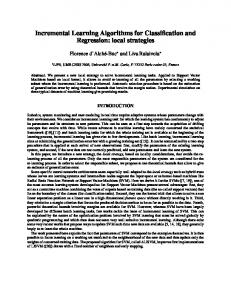 Incremental Learning Algorithms for Classification and Regression ...