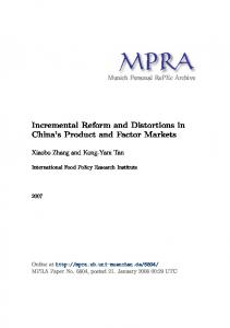 Incremental Reform and Distortions in China's Product and Factor ...