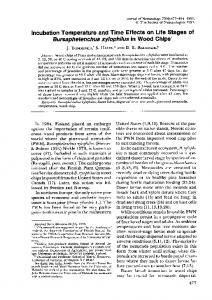 Incubation Temperature and Time Effects on Life Stages of ...