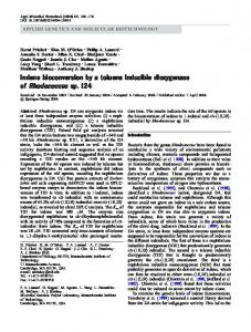 Indene bioconversion by a toluene inducible dioxygenase of ... - MIT