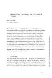 Independence, Democracy and Institutional Choices1 - Journal of ...
