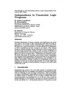 Independence in Constraint Logic Programs - the CLIP Lab