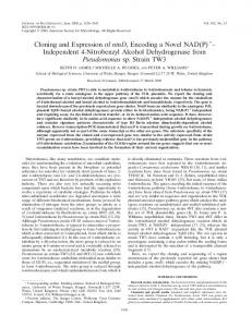 Independent 4-Nitrobenzyl Alcohol Dehydrogenase from ...