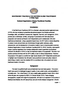 Independent Practice and the Certified Nurse Practitioner