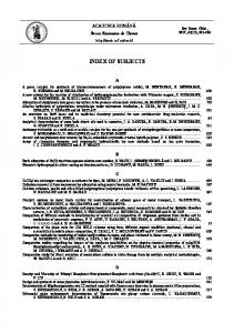 index of subjects - Revue Roumaine de Chimie