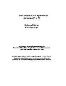 India and the WTO's Agreement on Agriculture (AoA) - AgEcon Search