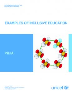 INDIA EXAMPLES OF INCLUSIVE EDUCATION