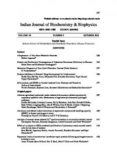 Indian Journal of Biochemistry & Biophysics - niscair