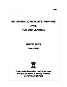 INDIAN PUBLIC HEALTH STANDARDS (IPHS) FOR SUB-CENTRES ...