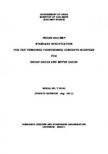 INDIAN RAILWAY STANDARD SPECIFICATION FOR PRE ... - rdso