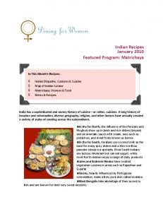 Indian Recipes January 2010 Featured Program: Matrichaya