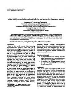 Indian S&T journals in international indexing and ... - NOPR - niscair