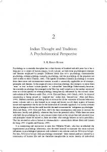 Indian Thought and Tradition: A Psychohistorical Perspective