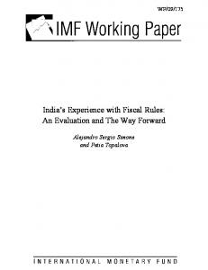 India's Experience with Fiscal Rules - IMF
