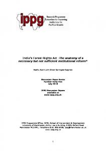 India's Forest Rights Act -The anatomy of a necessary but not ... - IPPG