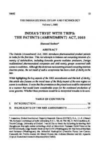 INDIA'S TRYST WITH TRIPS: THE PATENTS (AMENDMENT) ACT, 2005