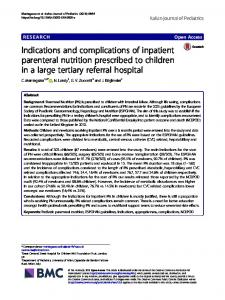 Indications and complications of inpatient parenteral nutrition ...