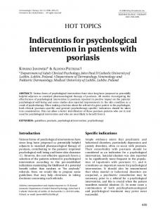 Indications for psychological intervention in patients with psoriasis