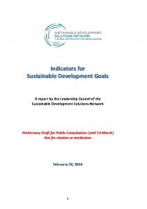 Indicators for Sustainable Development Goals