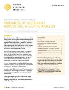 indicators of sustainable agriculture: a scoping analysis