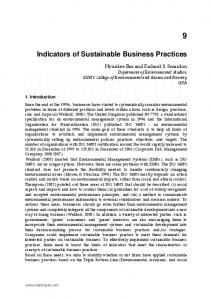 Indicators of Sustainable Business Practices