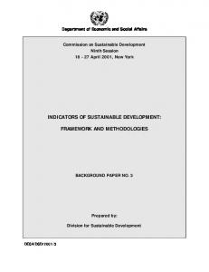 indicators of sustainable development: framework and methodologies