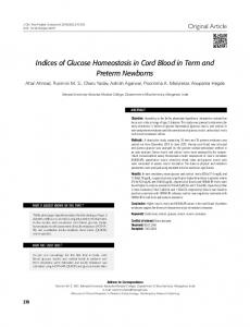 Indices of Glucose Homeostasis in Cord Blood in ... - Semantic Scholar