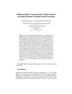 Indifferentiability Characterization of Hash Functions and ... - NISER