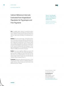 Indirect Reference Intervals Estimated from Hospitalized Population ...
