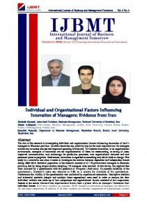 Individual and Organizational Factors Influencing Innovation of