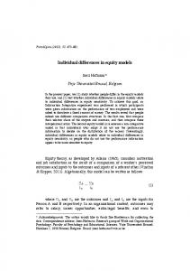 Individual differences in equity models