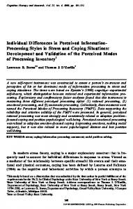 Individual Differences in Perceived Information Processing Styles in ...