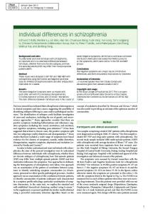 Individual differences in schizophrenia