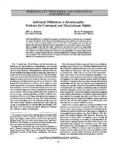 Individual Differences in Sociosexuality: Evidence for ...
