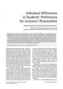 Individual Differences in Students' Preferences for Lecturers ...