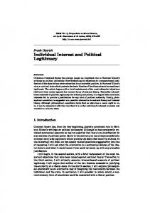 Individual Interest and Political Legitimacy - bankakademie-verlag.de