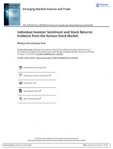 Individual Investor Sentiment and Stock Returns ...