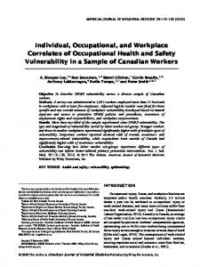 Individual, occupational, and workplace ... - Wiley Online Library
