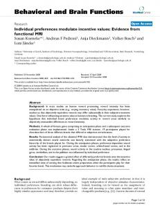 Individual preferences modulate incentive values: Evidence from ...