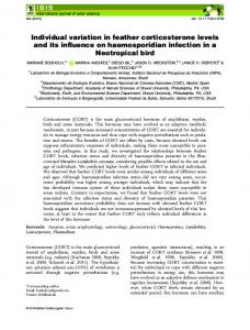Individual variation in feather corticosterone ... - Wiley Online Library
